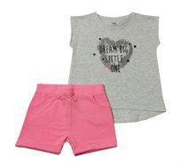 סט חולצה ומכנס Minene לבנות - אפור בהיר