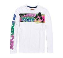 חולצה ארוכה עם הדפסים צבעוניים Acid Pacifica לגברים - לבן