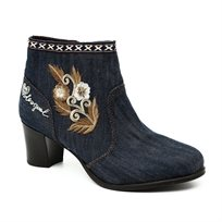 Desigual Cris Exotic Denim - מגפון גינס בעיטור רקמת פרח