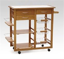 מארחים בסטייל! עגלת שירות למטבח להקלה באירוח והגשת אוכל, עשויה עץ אורן כולל משטח עבודה מרוצף