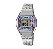 שעון יד דיגיטלי רטרו - כסף פרחוני