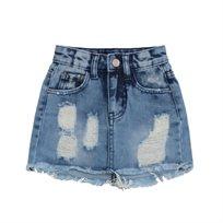 ORO/ חצאית ג'ינס (16-2 שנים) -קרעים כחול בהיר