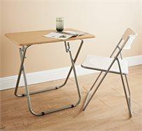 שולחן קומפקטי מתקפל בצבע עץ לשימוש בתוך הבית ובחוץ