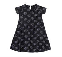 שמלת ג'רזי פעמון בצבע שחור בשילוב הדפס בייגלה