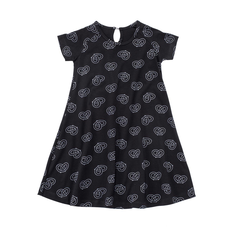 שמלת ג'רזי פעמון  - שחור בשילוב הדפס בייגלה