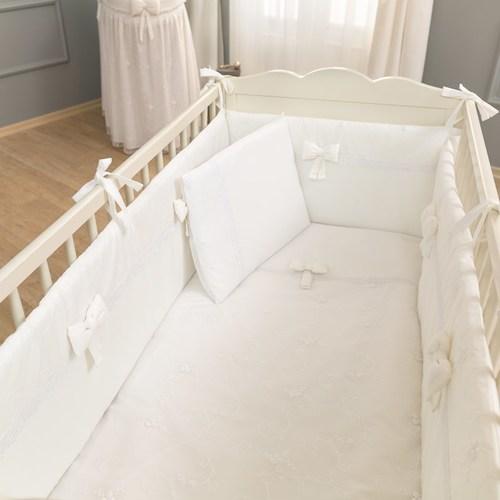 סט מצעי פרימיום 3 חלקים למיטת תינוק 100% כותנה - לבן פרימיום - תמונה 2