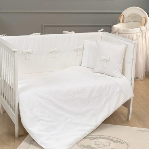 סט מצעי פרימיום 3 חלקים למיטת תינוק 100% כותנה - לבן פרימיום
