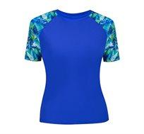 חולצת ראשגארד קצרה מקולקציית FREE BY GOTTEX בצבע כחול רויאל עם דפוס גאומטרי בשרוולים