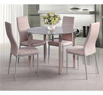 פינת אוכל עגולה עשויה מזכוכית וניקל בעיטור מעודן כולל 4 כסאות בריפוד דמוי עור איכותי ביותר בצבע ורוד