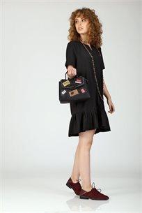 שמלה שינה קפלים - שחור - CUBiCA