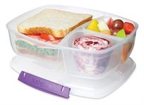 קופסת אוכל מחולקת + כלי לרוטב שקופה 2 ליטר מסדרת תיקי האוכל TO GO מבית Sistema