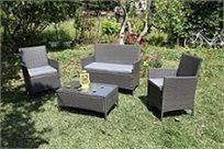 מערכת ישיבה 4 חלקים דמוי ראטן הכוללת 2 כורסאות יחיד, ספה זוגית ושולחן מבית HomeTown