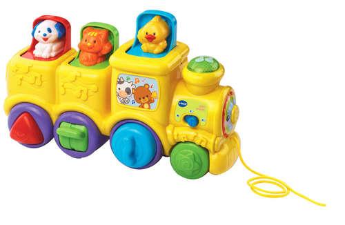 רכבת חיות קופצות מנגנת בעברית - צהוב