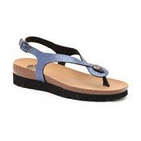 Scholl Kenna Sandal - סנדלי אצבע בצבע כחול מטאלי במראה מנוחש