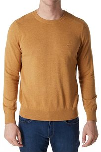 סוודר לגבר עם צווארון עגול ולוגו קטן NAUTICA דגם S537052BU בצבע בז'