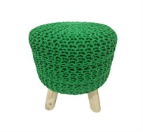 הדום מעוצב בצבע ירוק מסדרת זומי ביתילי עשוי כותנה סרוגה ורגלי עץ גולמי למראה אופנתי וייחודי לסלון