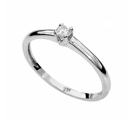 טבעת משובצת יהלום לבן עגול עשויה בזהב לבן 14 קאראט