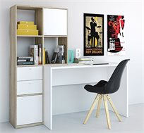 עמדת עבודה מעוצבת עם שולחן כתיבה וספרייה דגם קרלו HOME DECOR