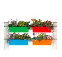 מערכת אדניות להרכבה פשוטה על הקיר במרפסת הכוללת 4 אדניות Garden@Home