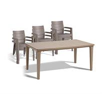 סט אוכל מעוצב בקווים נקיים כולל שולחן פטרה ו-6 כסאות דגם איביזה כתר