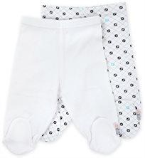 זוג רגליות לתינוק כותנה טריקו מידה 0-3 - לבן שחור