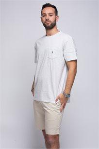 חולצת טישרט עם כיס לגבר POLO RALPH LAUREN בצבע אפור אבן