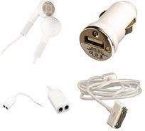 פשוט חובה! ערכת אביזרים ל-iPhone  4/4S/5 המכילה מטען USB לרכב, כבל סינכרון, מפצל סאונד ועוד