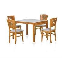 פינת אוכל בעיצוב עדין ומודרני ביתילי שולחן ו4 כסאות