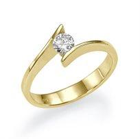 """טבעת אירוסין זהב צהוב """"מישל"""" 0.21 קראט"""