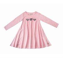 שמלת ג'רזי מסתובבת עם שרוול ארוך - ורוד בשילוב הדפס לבבות
