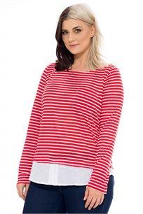 חולצת פסים שילוב בד - אדום