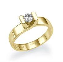 """טבעת אירוסין זהב צהוב סוליטייר """"מריה"""" 0.31 קראט בעיצוב המדגיש את היהלום"""