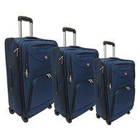 סט 3 מזוודות בד סוויס טרבל
