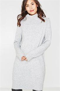 שמלת סריג עם צווארון מתגלגל לנשים בצבע אפור בהיר
