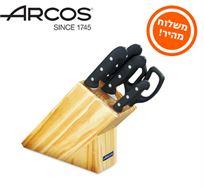 סט 4 סכינים ומספריים בבלוק עץ מבית ARCOS