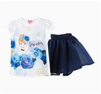סט לילדות חולצה וחצאית OVS - לבן וכחול עם הדפס סינדרלה