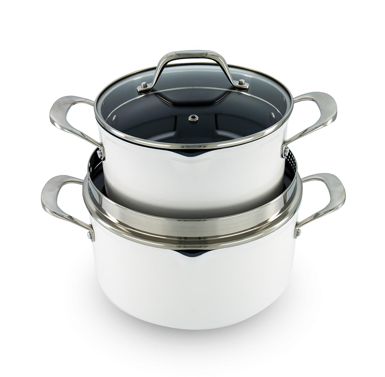 סיר קרמי לבן מסדרת הציפוי הקרמי לבישול בריאותי LAGUILE במבחר גדלים  - משלוח חינם - תמונה 3