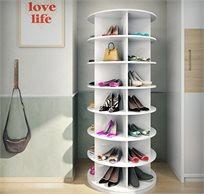 ארון נעליים מסתובב המכיל 7 קומות אחסון עם 5 תאים בכל קומה