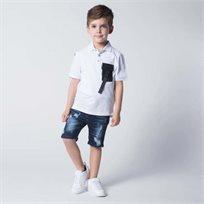 ORO חולצת פולו כיס לבן (7-2 שנים)