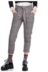 מכנס משובץ עם חגורת קשירה בצבע אפור