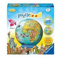 פאזל כדור 108 חלקים - מפת עולם לילדים
