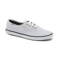 Keds - נעלי סניקרס צימפיון בד בצבע לבן בעיטור נקודות שחורות