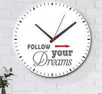 שעון עץ מודרני לבית חץ FOLLOW YOUR DREAMS