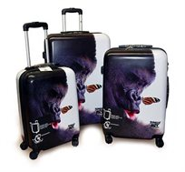 סט שלוש מזוודות קשיחות מעוצבות דגם גורילה