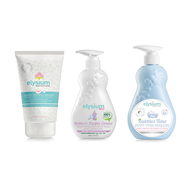 מארז לתינוק הכולל שמפו עם סבון, נוזל לחיטוי בקבוקים ומשחת החתלה+מתנה