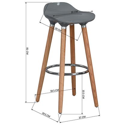כיסא בר יוקרתי ומעוצב דגם יסמין רגליים מעץ עם משענת לרגליים בגוון כרום HOMAX - משלוח חינם - תמונה 5