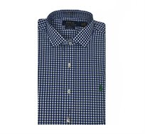 חולצה מכופתרת STRETCH POPLIN כחולה משבצות לוגו ירוק POLO RALPH LAUREN