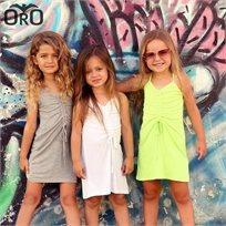 שמלת Oro לילדות (מידות 2-7 שנים) קשירה ירוק נאון