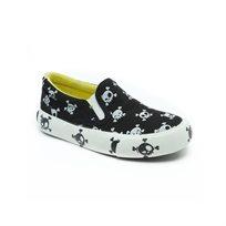 Keds - נעלי סניקרס שחורות עם הדפס גולגולות לבנות