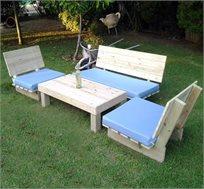 """פינת ישיבה """"זולה"""" 4 חלקים לגינה WOODLEE מעץ אורן עמיד ואיכותי"""